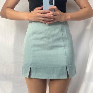 Mint green / blue mini skirt with slits